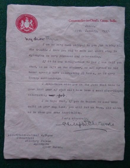 Antique Signed Letter Filed Marshal Sir Philip Chetwode Commander in Chief India